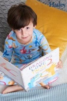 Hatley Blue Long Sleeve Dragon Loves Tacos Pajama Set