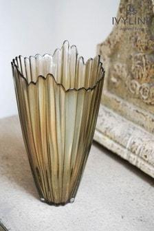 Ivyline Yellow Christmas Yellow Rippled Glass Vase