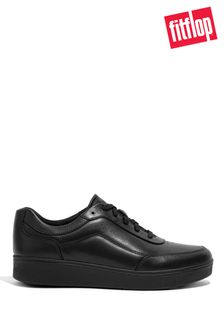 FitFlop Black Rally X Leather Trainers