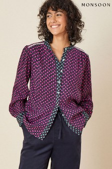 Monsoon Blue Printed Blouse In Lenzing EcoVero