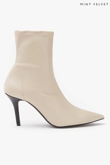Mint Velvet Sian Beige Pointed Ankle Boots