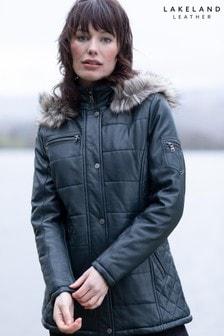 Lakeland Leather Fairfield Hooded Padded Leather Coat