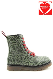Heavenly Feet Ladies Style Green Leopard Justina Ankle Boots