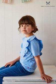 Crew Clothing Company Blue Inserted Frills Short Sleeve T-Shirt