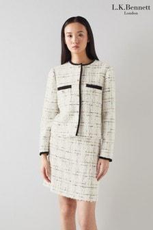 L.K.Bennett Cream Silvia Tweed Lurex Jacket