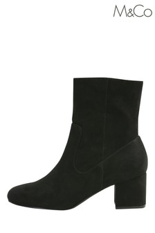 M&Co Black Suedette Heeled Ankle Boots