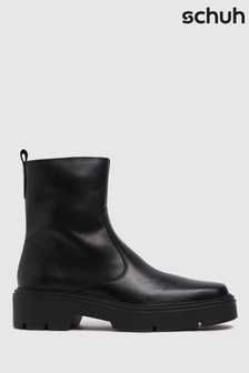 Schuh Black Alina Leather Sock Boots