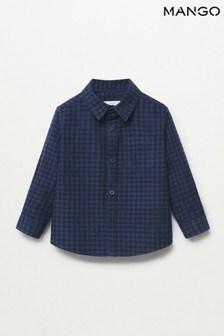 Mango Newborn Boys Blue Check Cotton Shirt