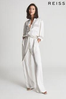 Reiss White Sedona Striped Jumpsuit