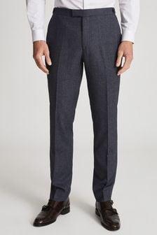 Reiss Blue Wing Wool Denim-look Slim Fit Trousers