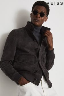 Reiss Grey Mens Grey Angel Suede Button Through Jacket