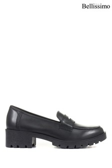 Bellissimo Black Ladies Chunky Leather Penny Loafers