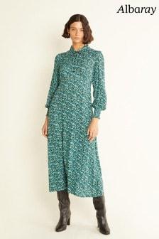 Albaray Womens Green Floral Empire Midi Dress