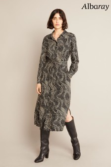 Albaray Womens Black Wave Spot Midi Shirt Dress