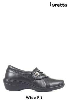 Loretta Ladies Black Wide Fit Handmade Slip-On Leather Shoes