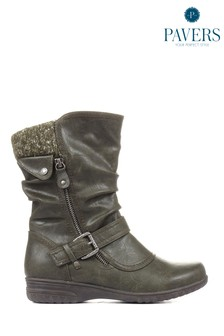 Pavers Ladies Green Calf Boots