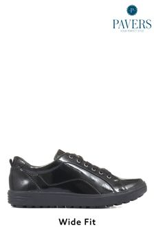 Pavers Ladies Black Wide Fit Lace-Up Trainers