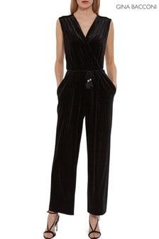 Gina Bacconi Black Ferne Velvet Wrap Jumpsuit