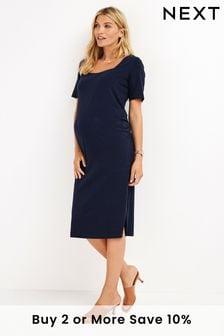 Navy Maternity Organic T-Shirt Dress