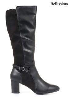 Bellissimo Ladies Black Heeled Knee High Boots