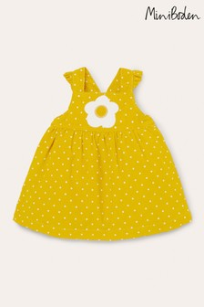 Boden Yellow Spotty Cord Pinafore