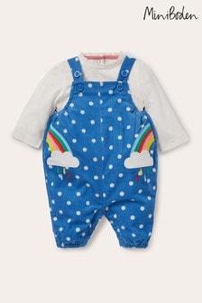 Boden Blue Rainbow Dungaree Set