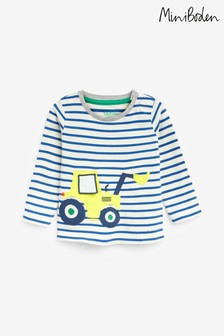 Boden Blue Tractor Appliqué T-Shirt