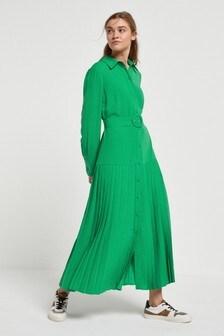 Green Pleat Midi Shirt Dress