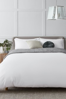 White White Collection Luxe 400 Thread Count 100% Egyptian Cotton Sateen Duvet Cover And Pillowcase Set