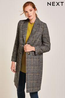 Check Revere Collar Coat