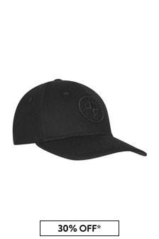 Stone Island Junior Boys Black Cotton Hat