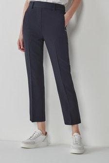 Navy Elastic Back Straight Leg Trousers