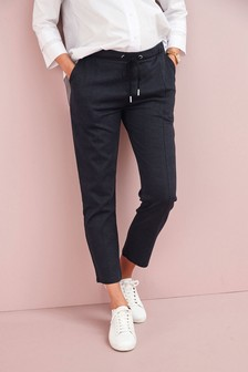Navy Check Maternity Jersey Relaxed Formal Joggers