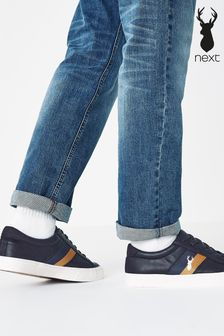 Navy Blue Stripe Stag Trainers