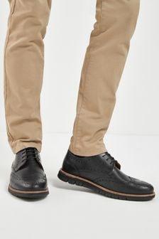 Black Leather Motion Flex Brogue Shoes