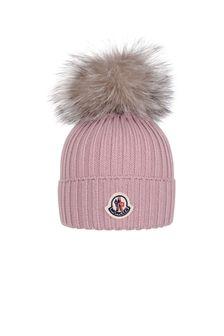 Moncler Enfant Girls Pastel Pink Wool Hat