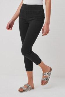 Black Super Stretch Soft Sculpting Cropped Skinny Jeans