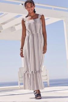 White Stripe Textured Maxi Dress