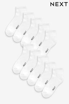 White Mid Cut Sports Socks