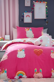 Pink Unicorn Icons Reversible Duvet Cover And Pillowcase Set