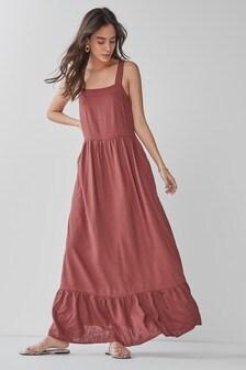 Rust Linen Mix Strappy Maxi Dress