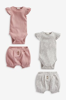 Pink/Grey 4 Piece Frill Sleeve Bodysuits And Shorts Set (0mths-2yrs)