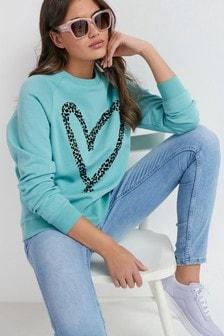 Mint Heart Graphic Sweatshirt