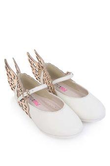 Sophia Webster Girls White & Rose Gold Leather Evangeline Shoes