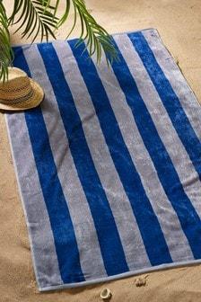 Grey Striped Beach Towel