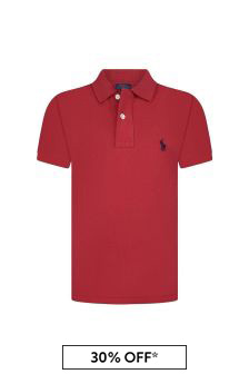 Ralph Lauren Kids Boys Red Cotton Custom Fit Polo Top