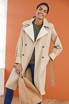 Camel Detachable Hooded Trench Coat