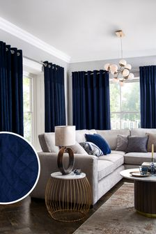 Navy Navy Velvet Quilted Hamilton Top Panel Eyelet Lined Curtains