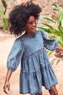 Mid Wash Tiered Denim Dress (3-16yrs)