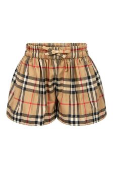 Burberry Kids Baby Girls Beige Cotton Shorts